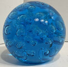 Large Blue Glass Paperweight with controlled bubble accents