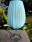 Vintage Empoli Rare Opalescent Blue MCM Art Glass Clear Stem Vase Compote Italy