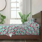 Strawberries Cute Fruit Food Summer 100 Cotton Sateen Sheet Set by Roostery