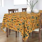 Tablecloth Moths Bugs Autumn Fall Color Leaves Limited Palette Cotton Sateen