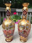 Pair of Antique MOSER Cranberry Victorian Vases w Gold Overlay  Persian Enamel
