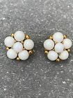 Vintage Milk Glass WEISS Clip Earrings in Gold Tone Metal Setting Signed Pair