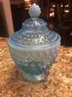 Fenton Blue Hobnail Opalescent Dish with Lid Beautiful