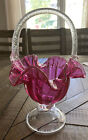 Victorian Cranberry Glass Basket Clear Pedestal Base Applied Clear Handle 11