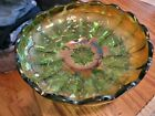 Millersburg Glass Co Ohio Green Carnival Glass Scalloped Top Bowl Strawberries