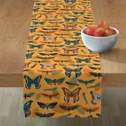 Table Runner Moths Bugs Autumn Fall Color Leaves Limited Palette Cotton Sateen