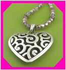 BRIGHTON DECO SWEETHEART Heart Pink Bead Silver NECKLACE NWotag