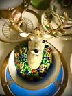 Mackenzie Childs Heirloom Deer Stag Ornament Hand Painted Collectible Glass