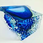 Mandruzzato Ice Textured Glass Bowl Ashtry Dish Blue Clear Sommerso Vintage MCM