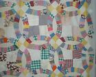 Quilt Top Double Wedding Ring Four Patch Center Cotton Fabric Feedsacks Scrappy