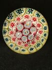 Vintage Round Colorful Millefiori Clear Art Glass Paperweight