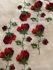 Vintage 1960s Sheer Off white Organza Red Roses Fabric Fashion Sewing Craft 5+Yd