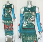 SAVE THE QUEEN DRESS GREEN AND BLUE FLORAL DRAPED SLEEVES sz M Medium