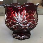 Vintage Ruby Red Hand Cut to Clear Bohemian Glass Vase