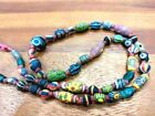 Antique Assortment Old Glass Beads Mixed Eye Mosaic Glass Collared Bead Necklace
