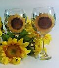 HAND PAINTED WINE GOBLET SET OF 2 WITH SUNFLOWERS UNIQUE DIMENSIONAL DETAILS
