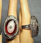 Antique Double Camphor Glass Clear  Red Large Camphor Glass Ring 925 6 1 2 OOAK