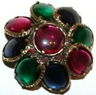 BEAUTIFUL CROWN TRIFARI SIGNED 2 INCH MOLDED GLASS PIN PENDANT RARE AND EXC