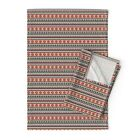 Aztec Tribal Pink Native Triangles Linen Cotton Tea Towels by Roostery Set of 2