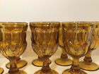 8 Vintage Indiana Glass Dark Amber Thumb Print King Crown Footed Glasses