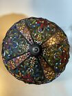 Striking Vintage Tiffany Style Large glass Table lampshade 20 Diameter 2