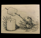 HOUSE MOUSE Wood Mounted Rubber Stamp Roasting Marshmallow Candle 1999 RARE Used