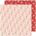 American Crafts Busy Sidewalks Double Sided Cardstock Candy Cane Christmas