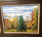 Autumn Pine Wind Oil Painting Original Signed Framed Large 275 X 22