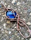 Sterling Silver Copper Wire Wrapped Azure Blue Glass Elven Elvish Necklace