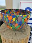 Rynkiewicz Poland Multi colored Glass Bowl Signed 10 1 4 x 7 1 2 collectable