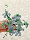 LOT 6 VINTAGE FRENCH GLASS SEED BEAD FLOWER STEMS MULTI BLUE WHITE FLOWERS