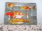 Vintage Higgins Art Glass Mid Century Red and Gold Fishes Ash Tray