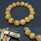 133mm Gold Natural Rutilated Quartz Round Crystal Beads Bracelet AAHigh quality