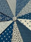 Dark Wedgewood Blue and Ivory 11 Fat Quarter Bundle Cotton Quilt Sewing Fabric