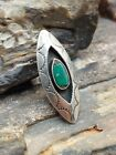 Old Pawn Sterling Silver Turquoise Tribal Shadowbox Ring Navajo Native