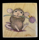 HOUSE MOUSE Wood Mounted Rubber Stamp Mudpie MUNCH Ball Plant Flower In Mouth