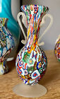 Vintage Labeled Murano Toso Millefiori Satin Glass Two handle Vase Pitcher MCM