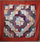Exceptional c1880 PA Antique Calico Red Log Cabin QUILT 74x74 The Fabrics