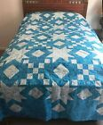 New King Size Unfinished Quilt Top Blue and White 102 X 102