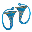 Antique Turquoise Aqua Glass Hand Painted Floral Gold Trim Wall Pocket vases