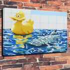 Banksy Rubber Duck Shark Printed Canvas Picture Multiple Sizes Wall Art Home
