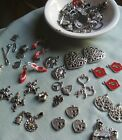 Sterling  Tibetan Silver Bead Charms Lot 80+ pcs Heart Sewing Frogs Firefighter