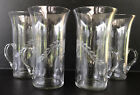 Vintage Etched Depression Glass Juice Tumblers With Handle Set Of 4