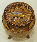 BOHEMIAN MOSER ART GLASS JEWELRY TRINKET BOX WITH ENAMELED BIRD AND BLOSSOMS