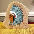 Indian Chief Rock with Headdress Painted Ceramic Art Native American VTG