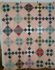Quilt Top Nine Patch On Point Vintage Time Span Indigo Shirting Woven Plaids