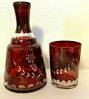 CZECH RUBY RED CUT TO CLEAR ETCHED GLASS TUMBLE UP BEDSIDE DECANTER  GLASS