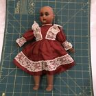 BURGUNDY DRESS with Lace Trim for BLEUETTE Antique Doll Reproduction