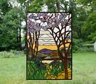Tiffany Style stained glass window panel Dawn in Valley 24 x 36