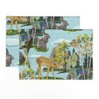 Cloth Placemats Paint Watercolor Woodland Nursery Number Bunnies Fawn Set of 2